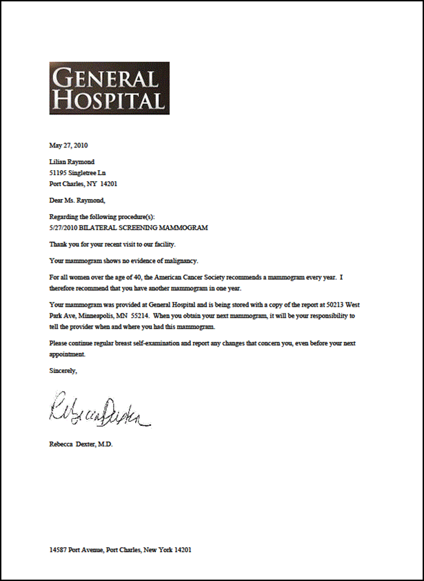 patient appointment reminder letter template